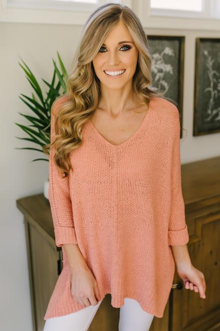 Open Knit High Low Sweater - Peach  - FINAL SALE