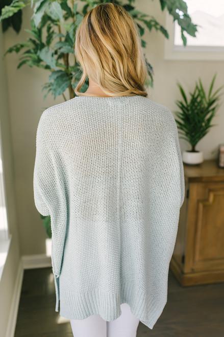Open Knit High Low Sweater - Light Blue