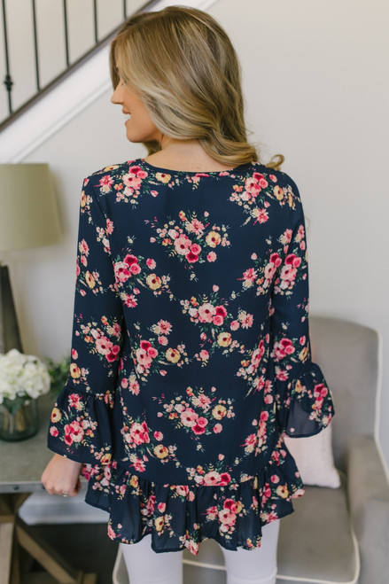 Flower Market Ruffle Detail Blouse - Navy Multi