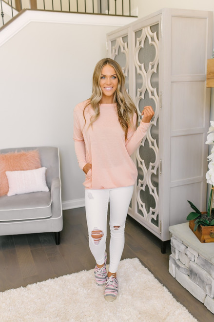 Lightweight Sweatshirt Pocket Tunic - Peach