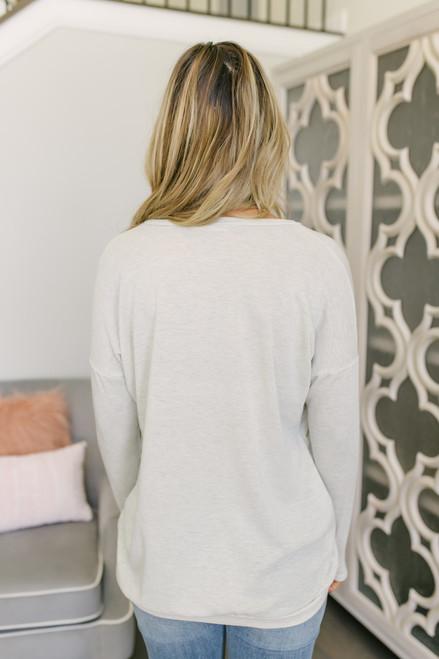 Lightweight Sweatshirt Pocket Tunic - Heather Oatmeal