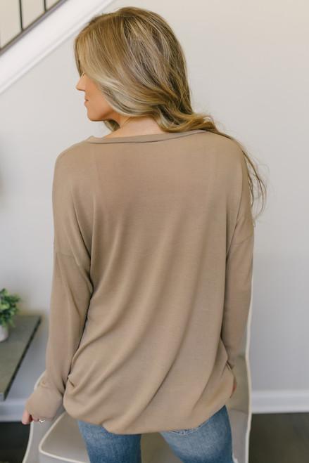 Lightweight Sweatshirt Pocket Tunic - Coco- FINAL SALE