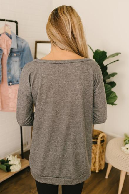French Terry Criss Cross Detail Sweatshirt - Charcoal - FINAL SALE