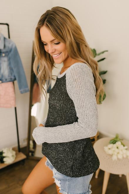 Lightweight Colorblock Sweater - Black/Grey