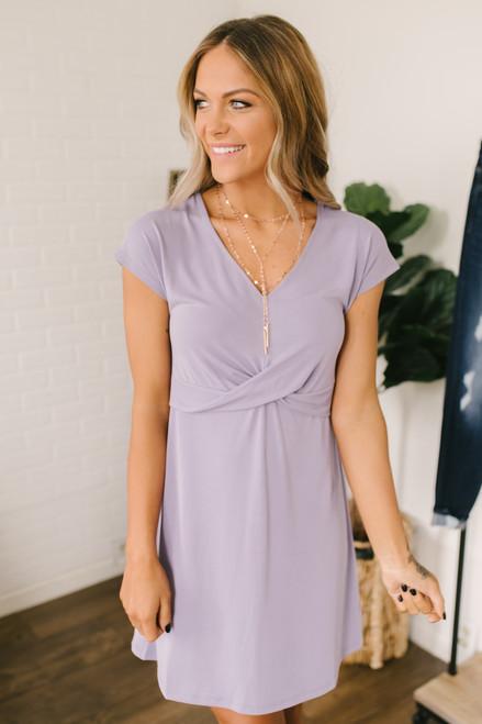 Short Sleeve Twist Front Dress - Lilac  - FINAL SALE