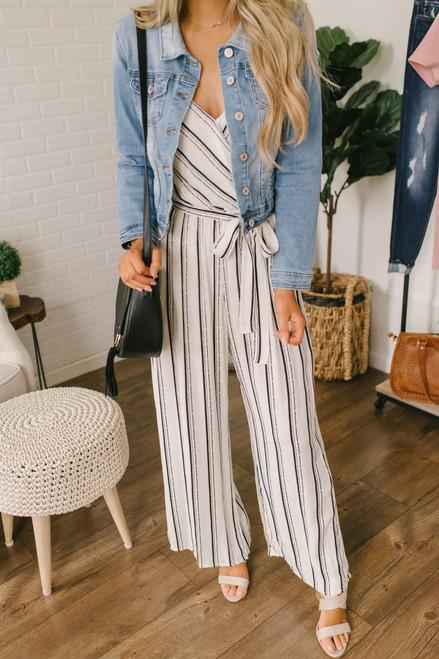 Faux Wrap Striped Jumpsuit - White/Black - FINAL SALE