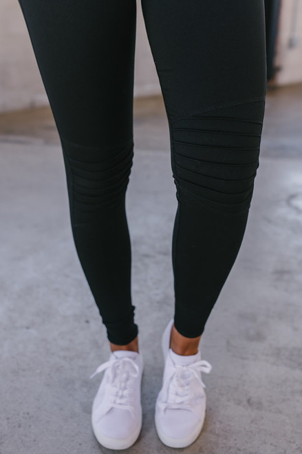 Drawstring Skinny Moto Hybrid Joggers - Black - FINAL SALE