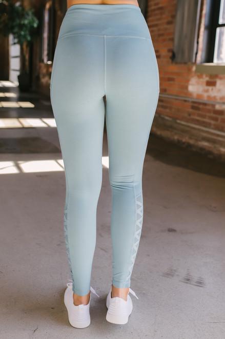 Mesh Detail Lattice High Waist Leggings - Dusty Teal - FINAL SALE