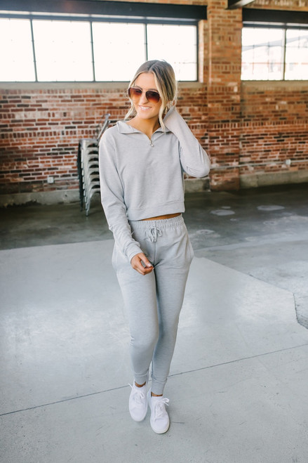 Drawstring Slim Joggers - Heather Grey - FINAL SALE