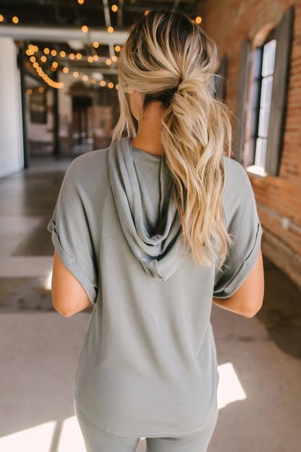 Short Sleeve Thermal Drawstring Hoodie - Dusty Sage