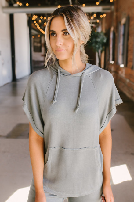 Short Sleeve Thermal Drawstring Hoodie - Dusty Sage - FINAL SALE