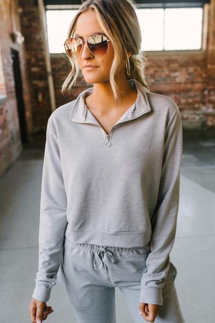 Half Zip Crop Pullover - Heather Grey