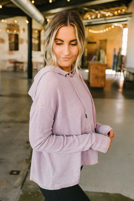 Thermal Burnout Drawstring Hoodie - Dusty Pink - FINAL SALE