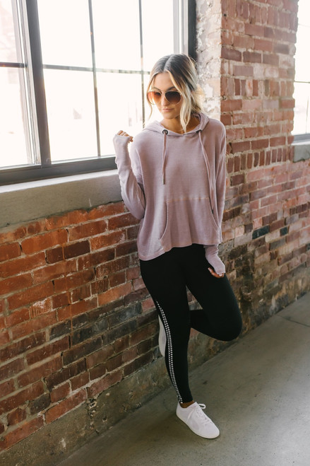 Thermal Burnout Drawstring Hoodie - Dusty Pink