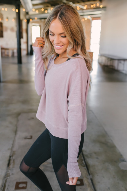Step Up Boxy Thermal Pullover - Dusty Pink