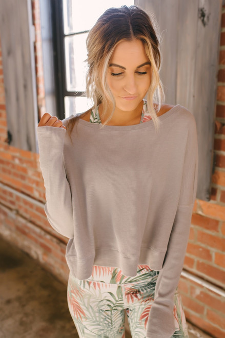 Step Up Boxy Thermal Pullover - Grey - FINAL SALE