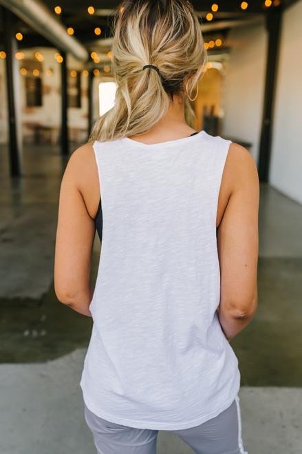 Slub Knit Pocket Muscle Tank - White - FINAL SALE