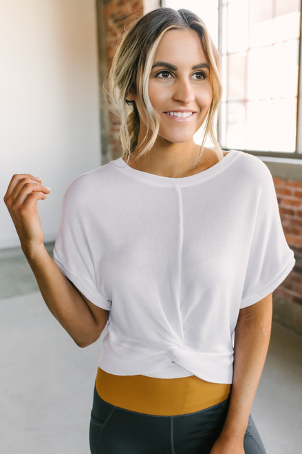 Short Sleeve Dolman Twist Front Crop Top - White - FINAL SALE