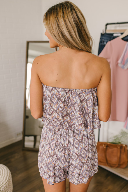 Strapless Tie Waist Printed Romper - Dusty Purple Multi - FINAL SALE