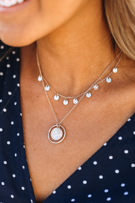 Dotted Layered Coin Necklace - Gold