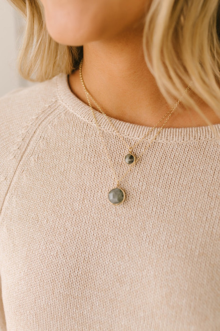 Layered Textured Stone Necklace - Grey/Gold