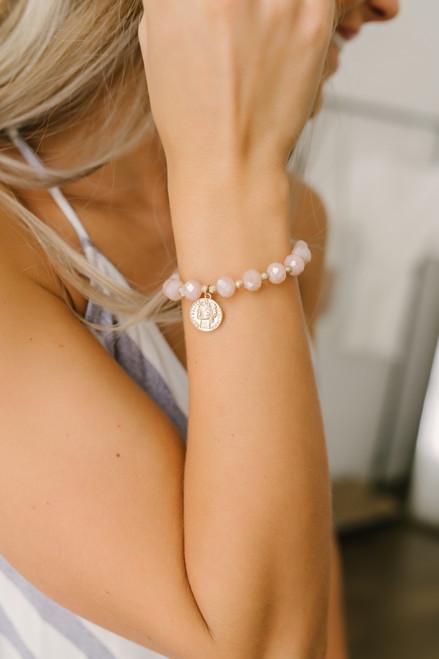Capri Coin Detail Beaded Bracelet - Pink