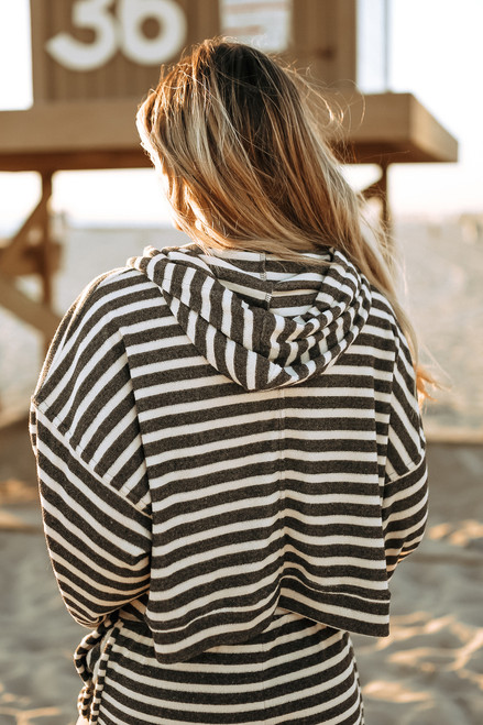 Drawstring Striped Terry Hoodie - Cream/Charcoal