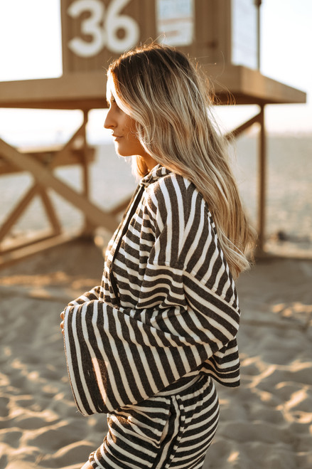Drawstring Striped Terry Hoodie - Cream/Charcoal - FINAL SALE