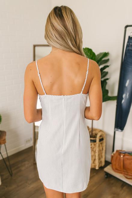 Twisted Knot Striped Dress - Mint/White
