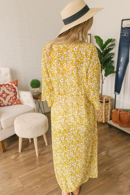 California Bungalow Floral Duster Kimono - Mustard Multi
