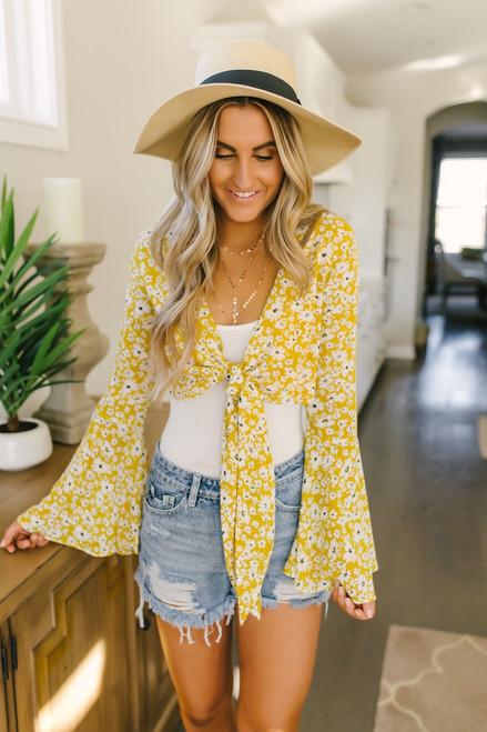 Bell Sleeve Floral Knot Crop Top - Mustard Multi