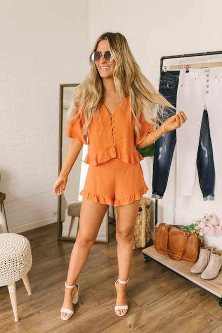 Sadie & Sage Ruffle Dot Shorts - Orange/White - FINAL SALE