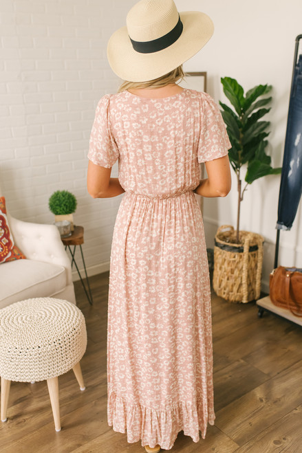 Everly Faux Wrap Floral Watercolor Maxi - Blush/White