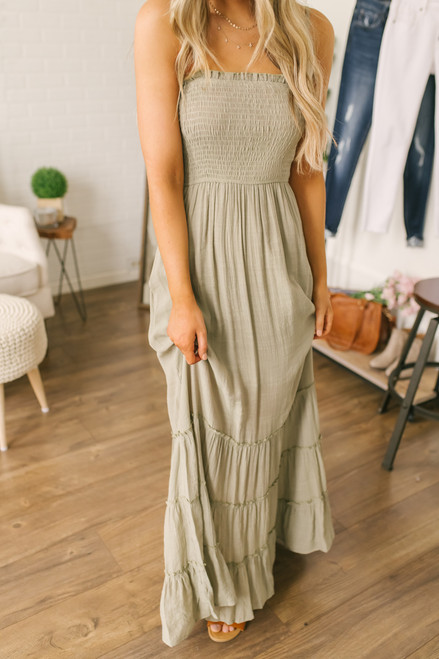 Adventurous Soul Smocked Tiered Maxi - Light Olive