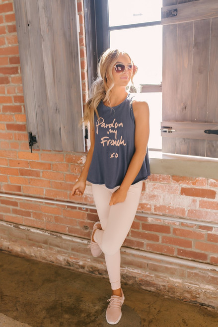 Comune Pardon My French Muscle Tank - Navy/Pink - FINAL SALE