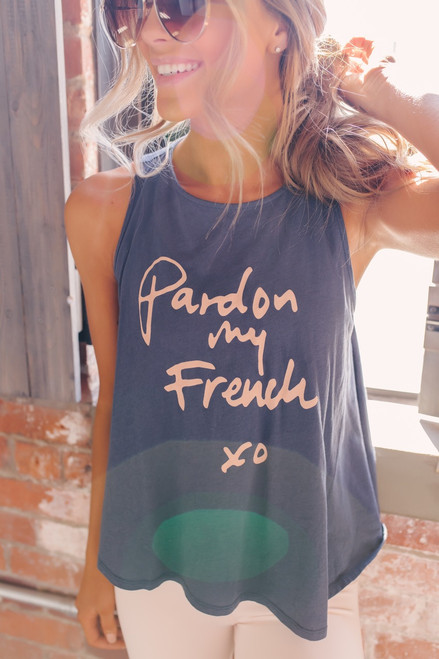 Comune Pardon My French Muscle Tank - Navy/Pink