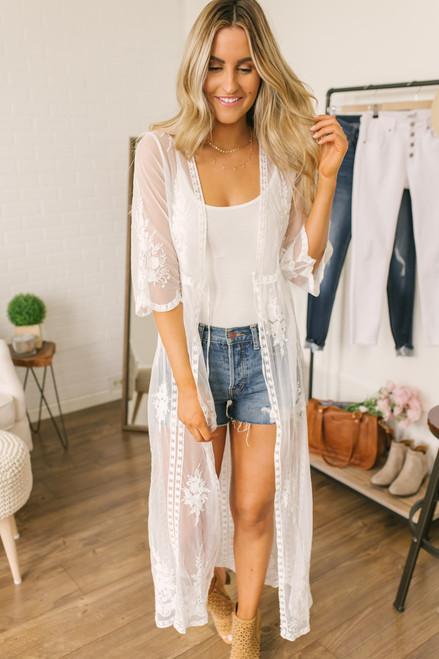 Sunset Dreams Lace Duster Kimono -  White