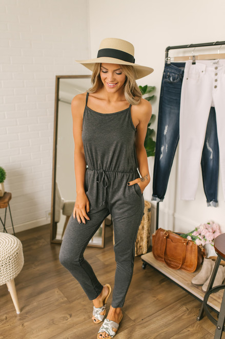 Harlyn French Terry Pocket Jumpsuit - Charcoal