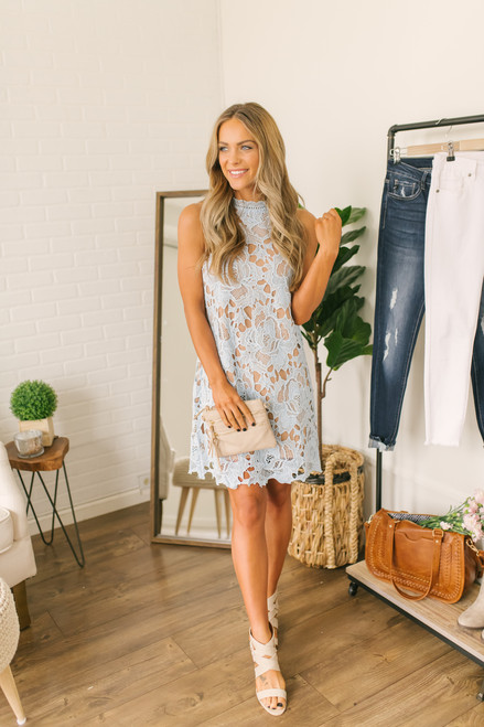 Mock Neck Floral Crochet Dress - Light Blue