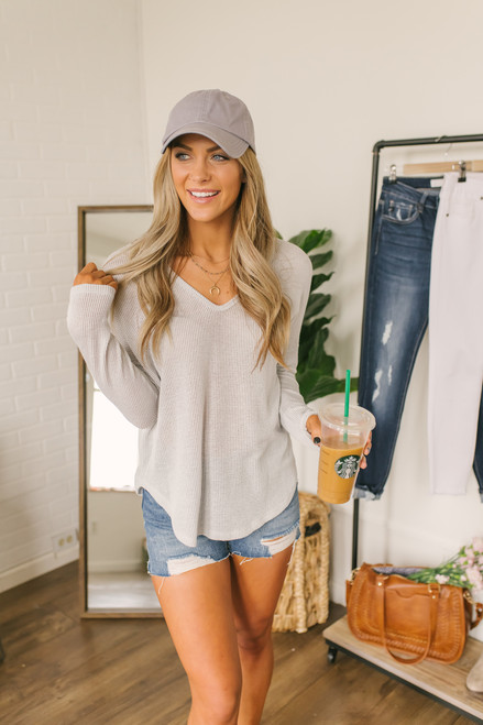 Everly V-Neck High Low Ribbed Top - Light Grey- FINAL SALE