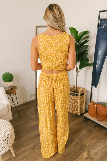 Golden Glow Tie Front Printed Jumpsuit - Honey/White
