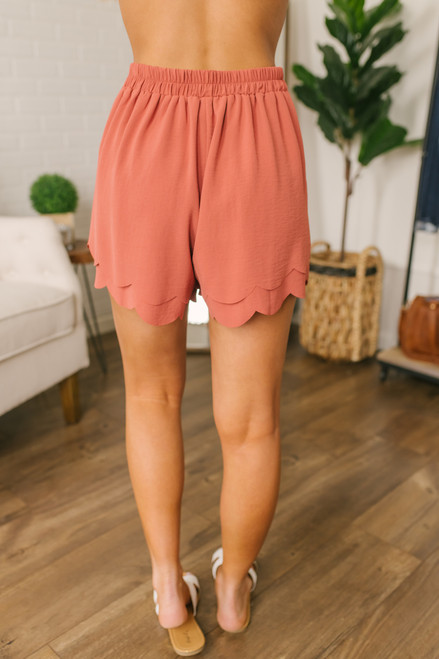 Tie Front Double Scalloped Shorts - Rust - FINAL SALE