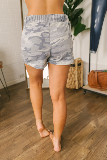 French Terry Drawstring Camo Shorts - Grey Multi