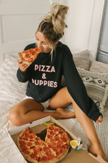Pizza & Puppies Sweatshirt - Black/Pink