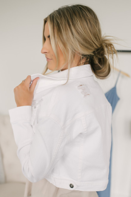 Jack by BB Dakota De-Stressed Jacket - White - FINAL SALE