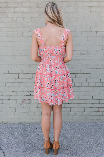 Jack by BB Dakota Secret Flowers Dress - Persimmon Red - FINAL SALE