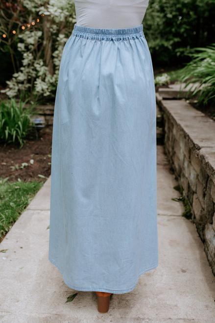 Jack by BB Dakota Sea Glass Wrap Skirt - Washed Chambray