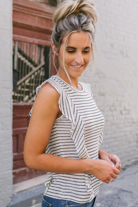 BB Dakota Side Gig Striped Top - Ivory/Black - FINAL SALE