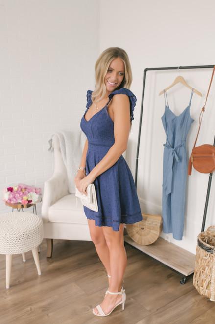 BB Dakota Eyelet You Win Dress - Vintage Blue