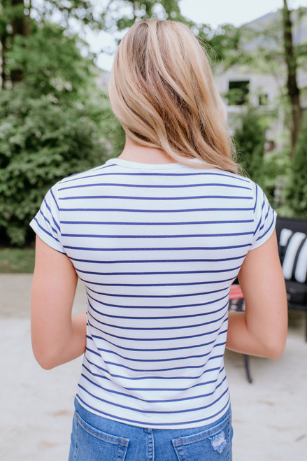 BB Dakota Striped Ahoy Tee - Optic White - FINAL SALE